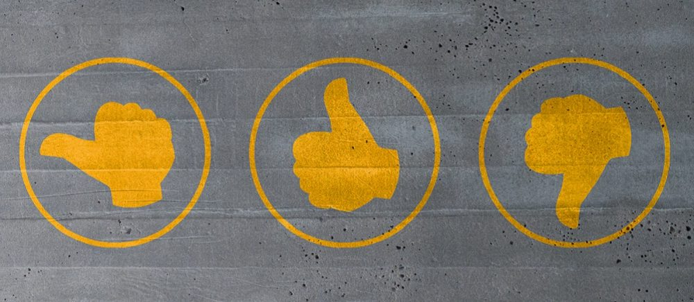 Image of sideways thumb, thumbs up, and thumbs down icons representing opportunities for providing program feedback.