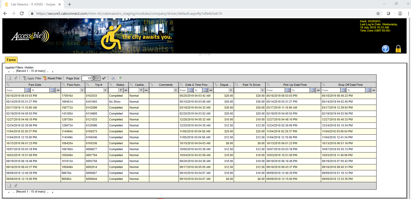 Screen shot of home page, which will show all trip related details on driver portal page.