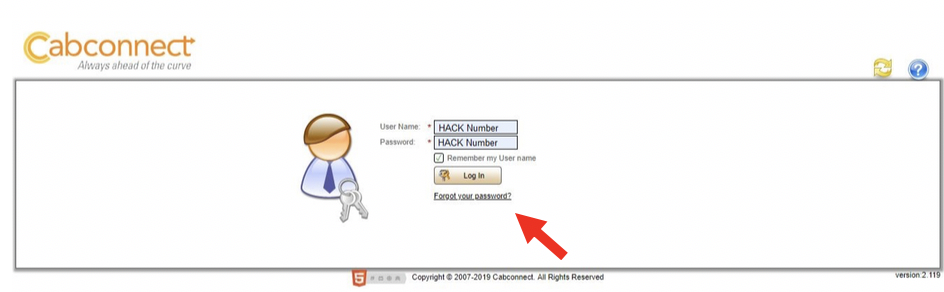 "Screen shot of log in information with an arrow pointing towards ""forgot your password""."