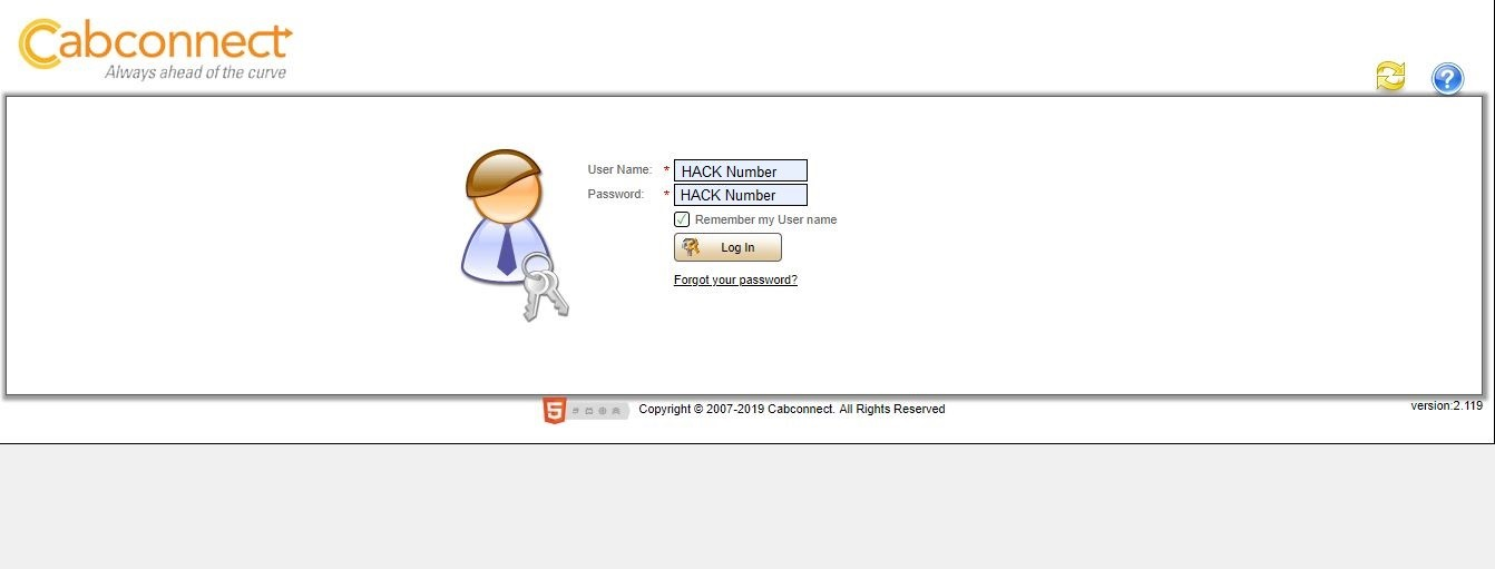 screen shot of driver portal log in page