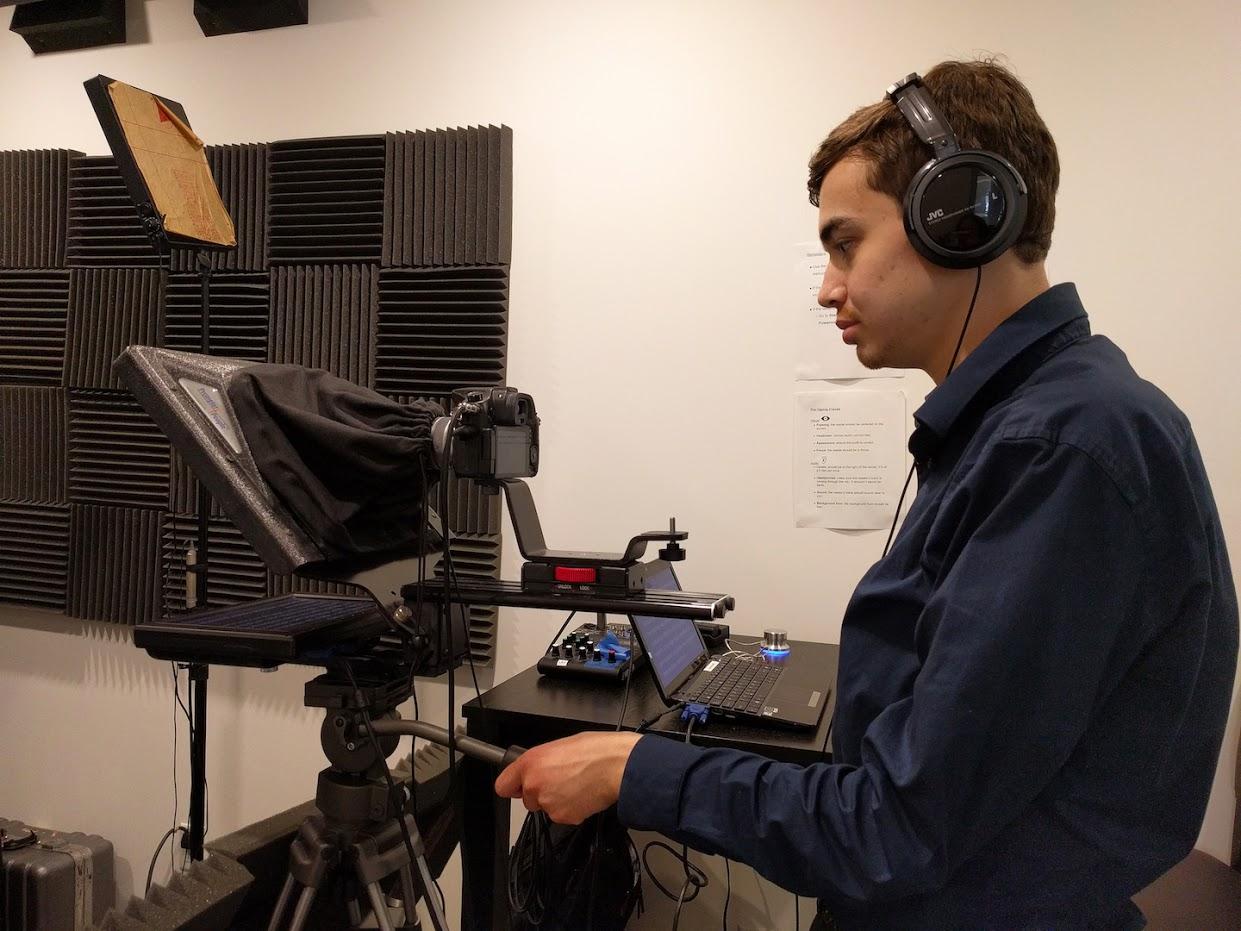 Benjamin Rosloff working at his job as a Production Assistant at Maslansky + Partners.